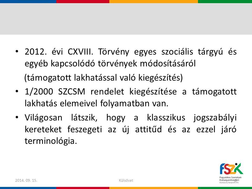 2012. évi CXVIII. Törvény egyes szociális tárgyú és egyéb kapcsolódó törvények módosításáról (támogatott lakhatással való kiegészítés) 1/2000 SZCSM re