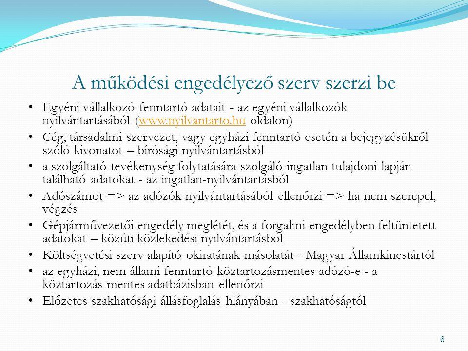 A működési engedélyező szerv szerzi be Egyéni vállalkozó fenntartó adatait - az egyéni vállalkozók nyilvántartásából (www.nyilvantarto.hu oldalon)www.