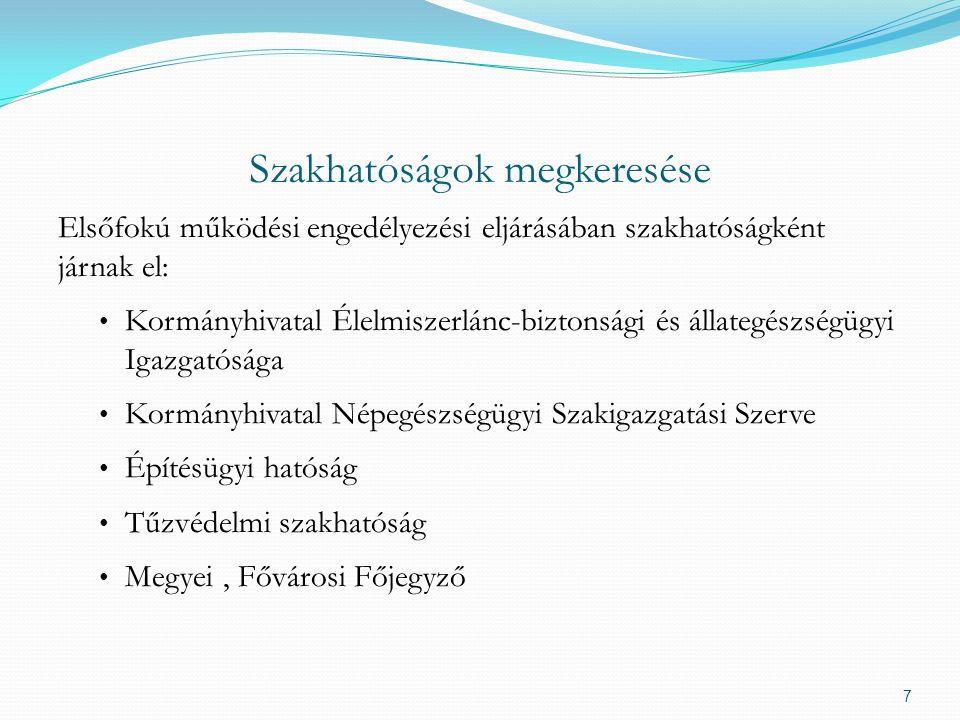 Szakhatóságok megkeresése Elsőfokú működési engedélyezési eljárásában szakhatóságként járnak el: Kormányhivatal Élelmiszerlánc-biztonsági és állategés