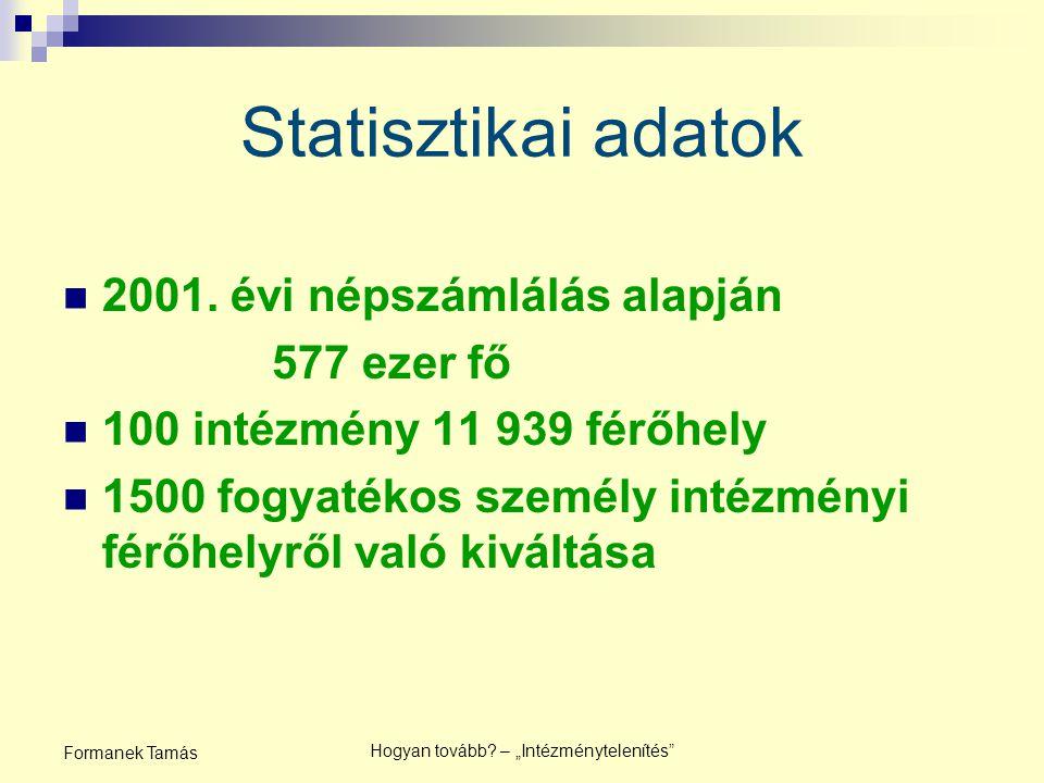 """Hogyan tovább.– """"Intézménytelenítés Formanek Tamás Statisztikai adatok 2001."""