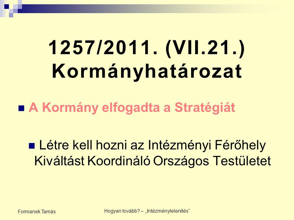 Intézményi Férőhely Kiváltást Koordináló Országos Testület Megalakult 2011.