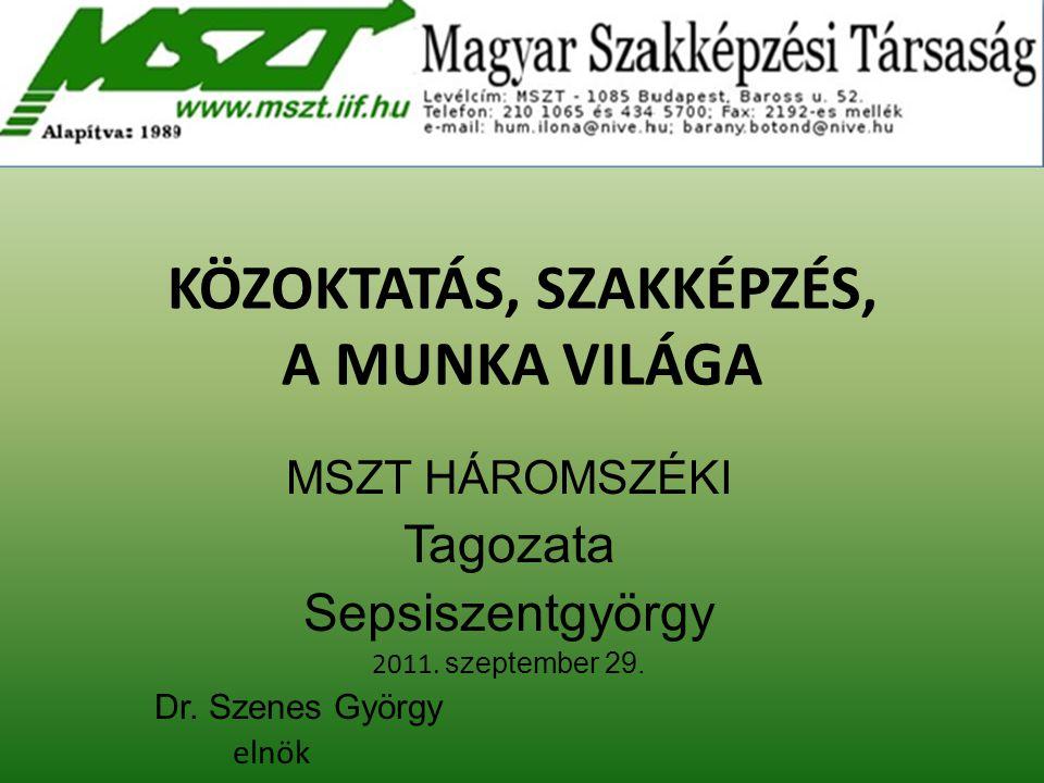 KÖZOKTATÁS, SZAKKÉPZÉS, A MUNKA VILÁGA MSZT HÁROMSZÉKI Tagozata Sepsiszentgyörgy 2011. szeptember 29. Dr. Szenes György elnök