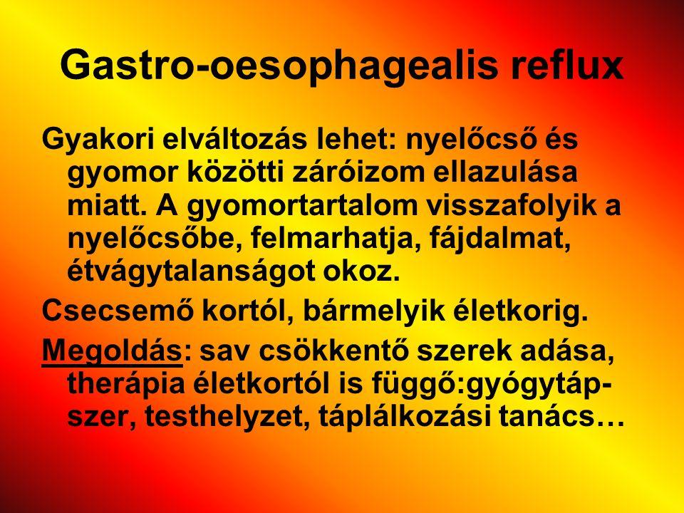 Gastro-oesophagealis reflux Gyakori elváltozás lehet: nyelőcső és gyomor közötti záróizom ellazulása miatt. A gyomortartalom visszafolyik a nyelőcsőbe