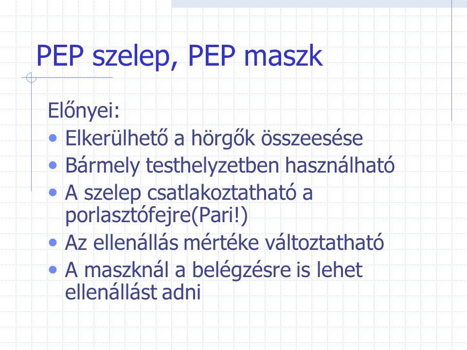 PEP szelep, PEP maszk Előnyei: Elkerülhető a hörgők összeesése Bármely testhelyzetben használható A szelep csatlakoztatható a porlasztófejre(Pari!) Az