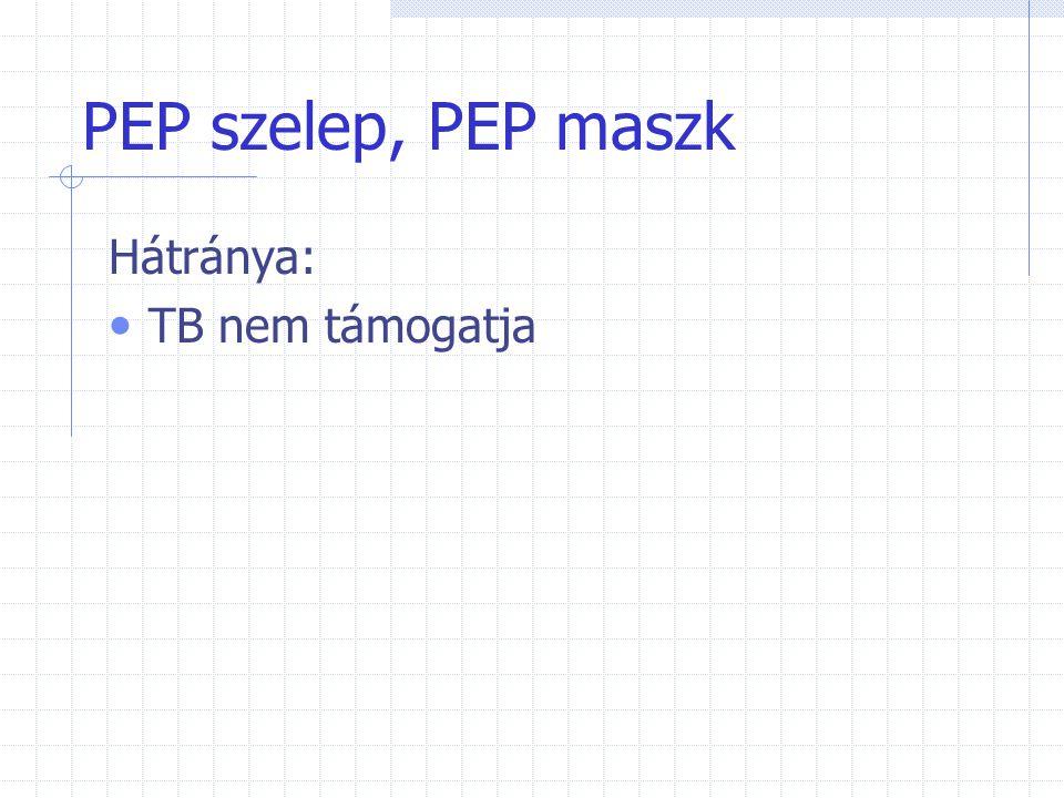 PEP szelep, PEP maszk Hátránya: TB nem támogatja