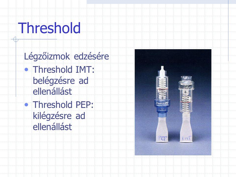 Threshold Légzőizmok edzésére Threshold IMT: belégzésre ad ellenállást Threshold PEP: kilégzésre ad ellenállást