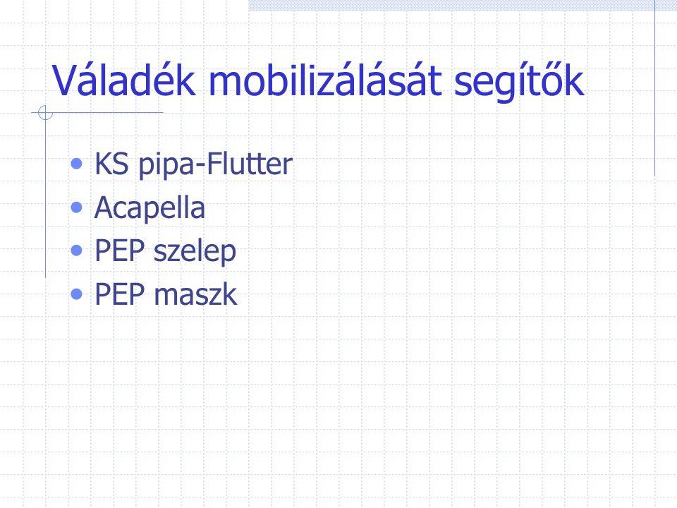 Váladék mobilizálását segítők KS pipa-Flutter Acapella PEP szelep PEP maszk