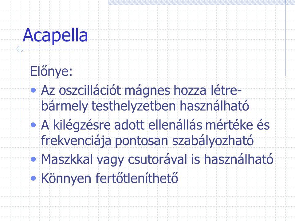 Acapella Előnye: Az oszcillációt mágnes hozza létre- bármely testhelyzetben használható A kilégzésre adott ellenállás mértéke és frekvenciája pontosan