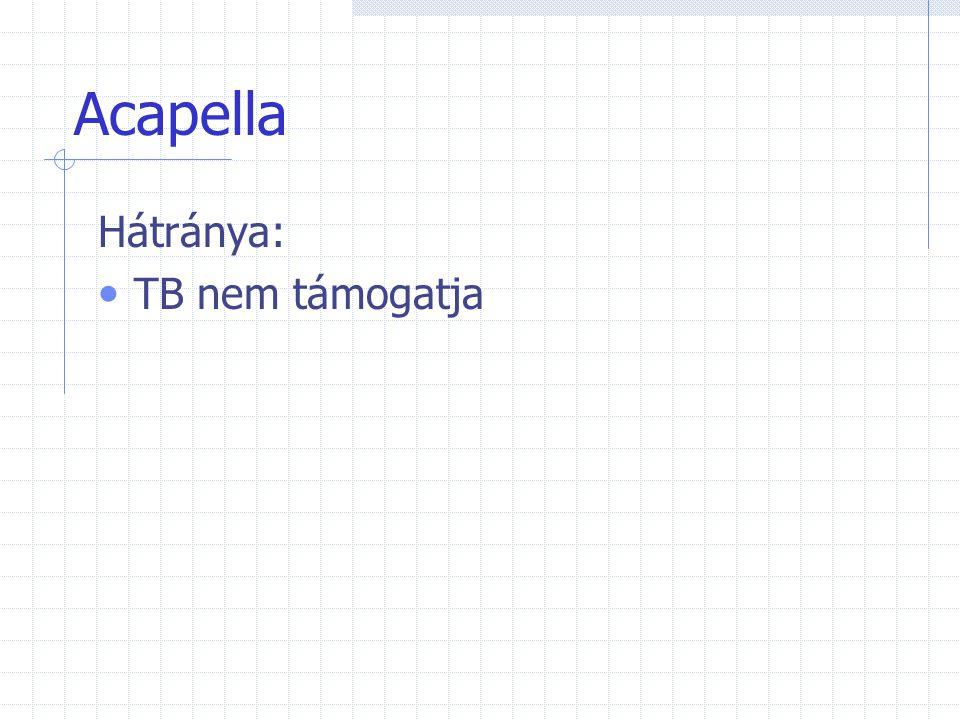 Acapella Kontraindikációi: PTX Vérköpés Acut sinusitis Dobhártya sérülése Nyelőcső műtéte Spontán, hírtelen orrvérzés Friss koponya, arc, orr trauma Agynyomás fokozódása