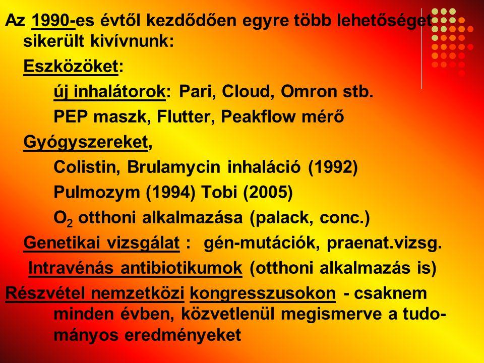 Az 1990-es évtől kezdődően egyre több lehetőséget sikerült kivívnunk: Eszközöket: új inhalátorok: Pari, Cloud, Omron stb. PEP maszk, Flutter, Peakflow