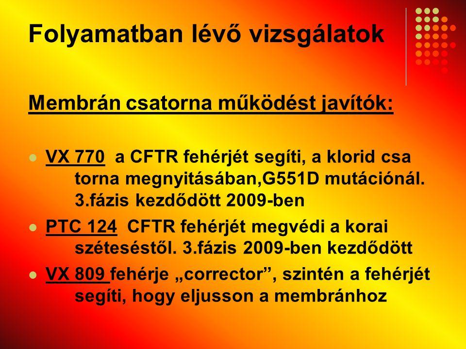 Folyamatban lévő vizsgálatok Membrán csatorna működést javítók: VX 770 a CFTR fehérjét segíti, a klorid csa torna megnyitásában,G551D mutációnál. 3.fá