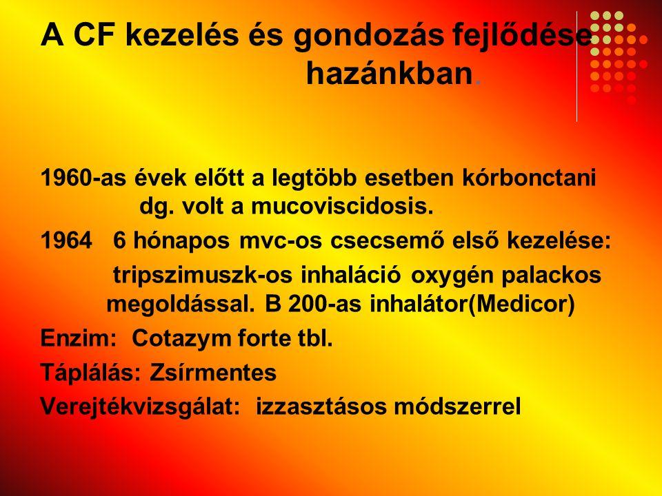 A CF kezelés és gondozás fejlődése hazánkban. 1960-as évek előtt a legtöbb esetben kórbonctani dg. volt a mucoviscidosis. 1964 6 hónapos mvc-os csecse