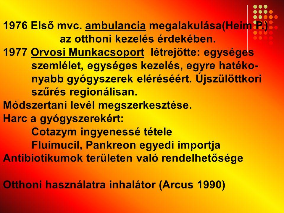 1976 Első mvc. ambulancia megalakulása(Heim P.) az otthoni kezelés érdekében. 1977 Orvosi Munkacsoport létrejötte: egységes szemlélet, egységes kezelé