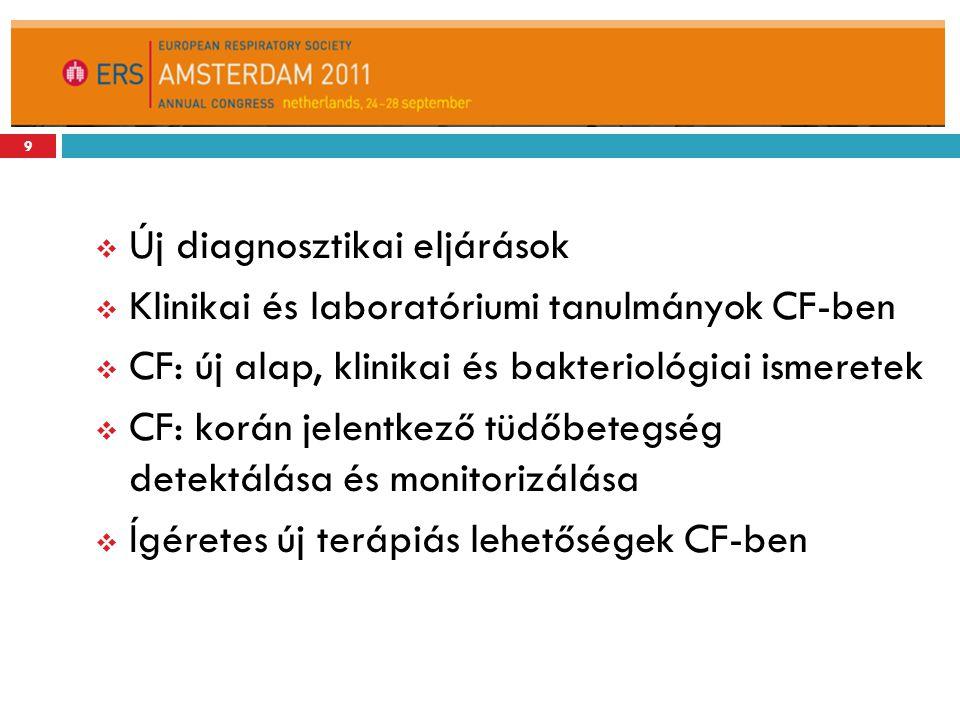  Új diagnosztikai eljárások  Klinikai és laboratóriumi tanulmányok CF-ben  CF: új alap, klinikai és bakteriológiai ismeretek  CF: korán jelentkező