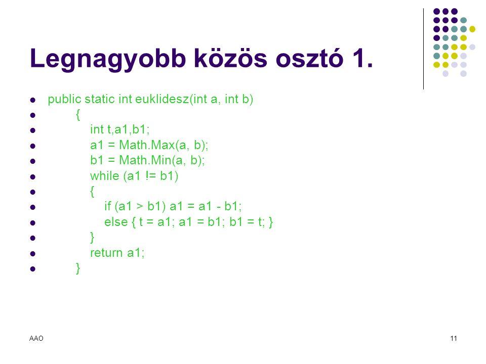 AAO11 Legnagyobb közös osztó 1. public static int euklidesz(int a, int b) { int t,a1,b1; a1 = Math.Max(a, b); b1 = Math.Min(a, b); while (a1 != b1) {