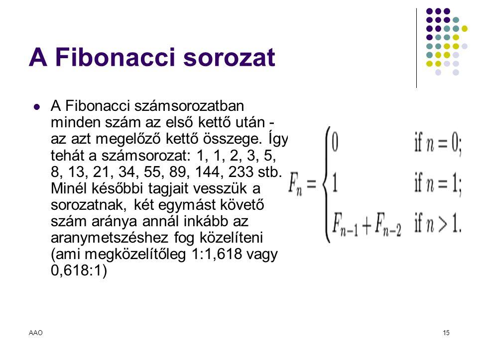 AAO15 A Fibonacci sorozat A Fibonacci számsorozatban minden szám az első kettő után - az azt megelőző kettő összege. Így tehát a számsorozat: 1, 1, 2,