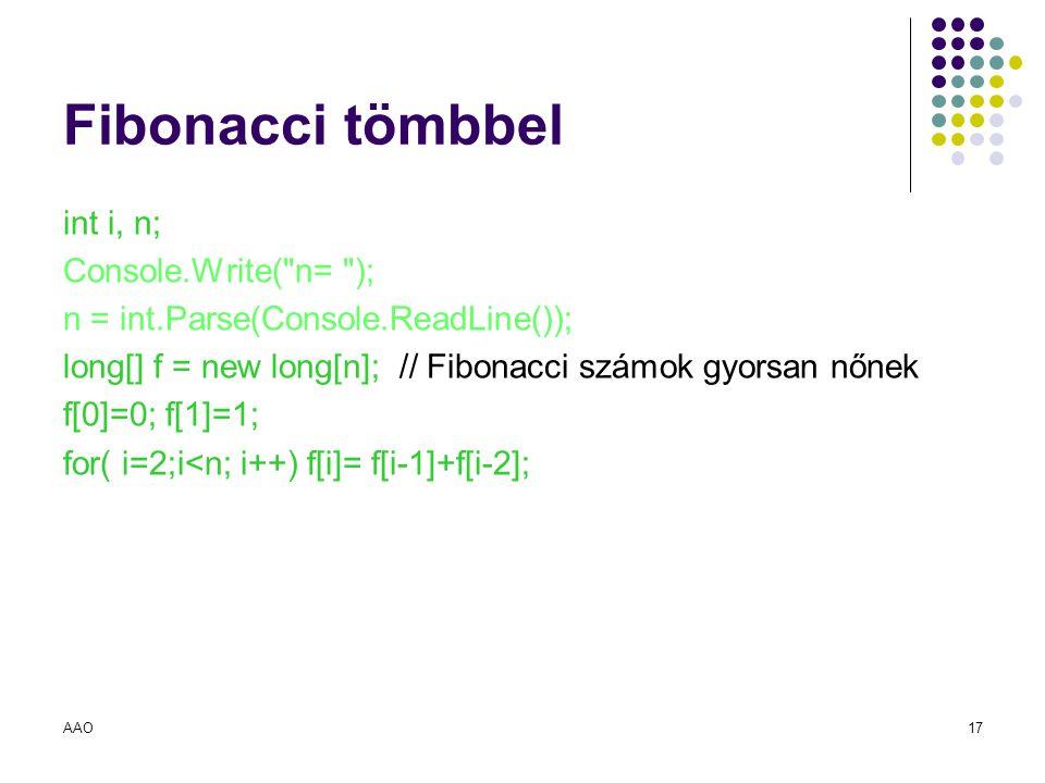 AAO17 Fibonacci tömbbel int i, n; Console.Write(