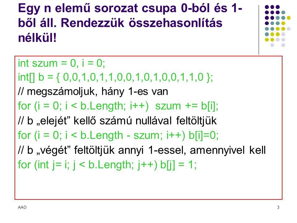 AAO3 Egy n elemű sorozat csupa 0-ból és 1- ből áll. Rendezzük összehasonlítás nélkül! int szum = 0, i = 0; int[] b = { 0,0,1,0,1,1,0,0,1,0,1,0,0,1,1,0