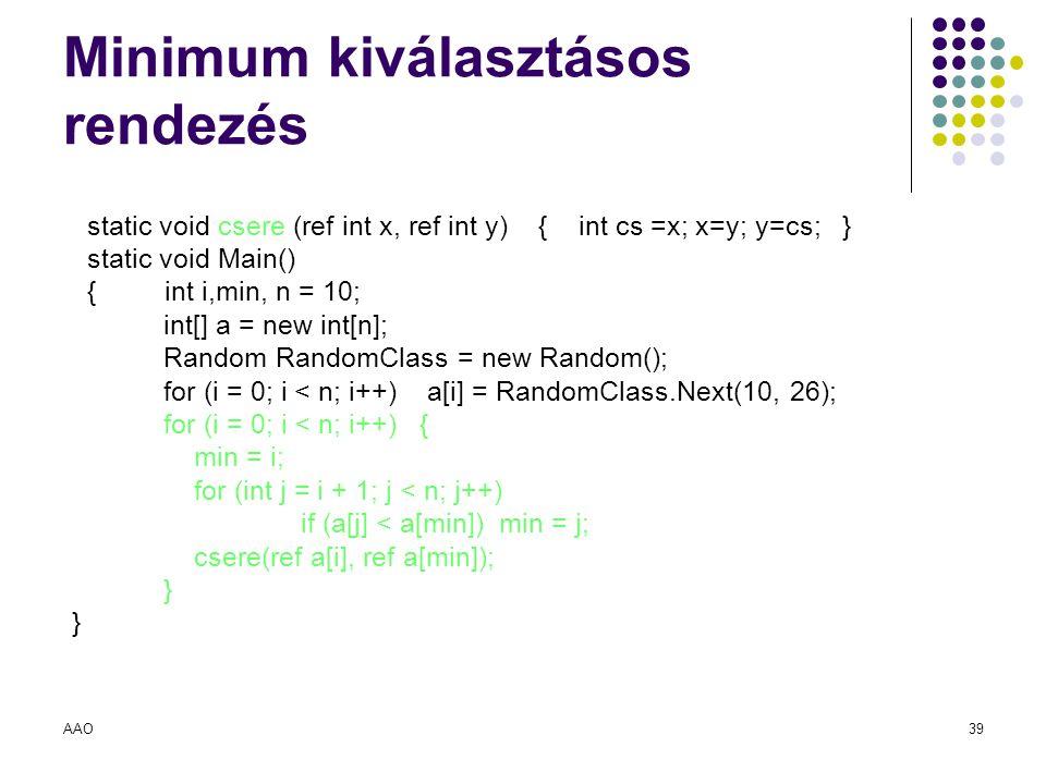 AAO39 Minimum kiválasztásos rendezés static void csere (ref int x, ref int y) { int cs =x; x=y; y=cs; } static void Main() { int i,min, n = 10; int[]