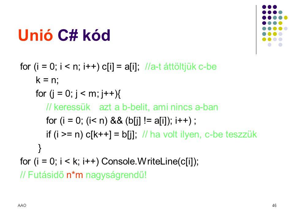 AAO46 Unió C# kód for (i = 0; i < n; i++) c[i] = a[i]; //a-t áttöltjük c-be k = n; for (j = 0; j < m; j++){ // keressük azt a b-belit, ami nincs a-ban