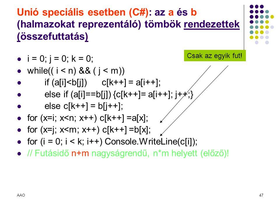 AAO47 Unió speciális esetben (C#): az a és b (halmazokat reprezentáló) tömbök rendezettek (összefuttatás) i = 0; j = 0; k = 0; while(( i < n) && ( j <