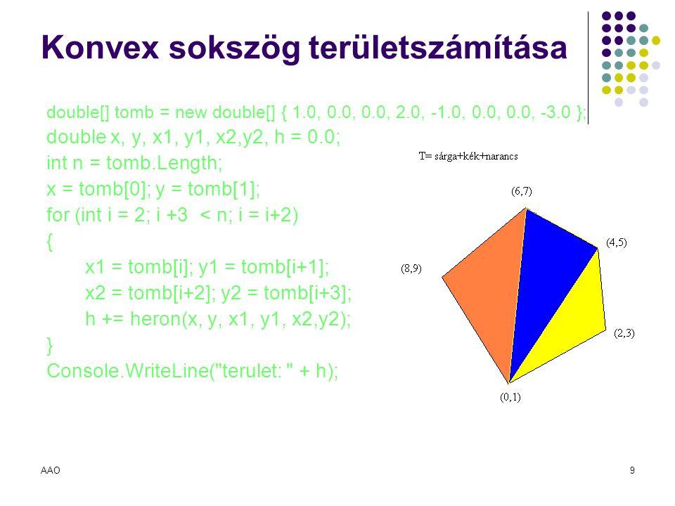AAO9 Konvex sokszög területszámítása double[] tomb = new double[] { 1.0, 0.0, 0.0, 2.0, -1.0, 0.0, 0.0, -3.0 }; double x, y, x1, y1, x2,y2, h = 0.0; i