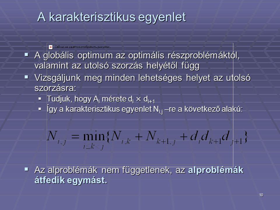 10 A karakterisztikus egyenlet  A globális optimum az optimális részproblémáktól, valamint az utolsó szorzás helyétől függ  Vizsgáljunk meg minden lehetséges helyet az utolsó szorzásra:  Tudjuk, hogy A i mérete d i × d i+1  Így a karakterisztikus egyenlet N i,j –re a következő alakú:  Az alproblémák nem függetlenek, az alproblémák átfedik egymást.