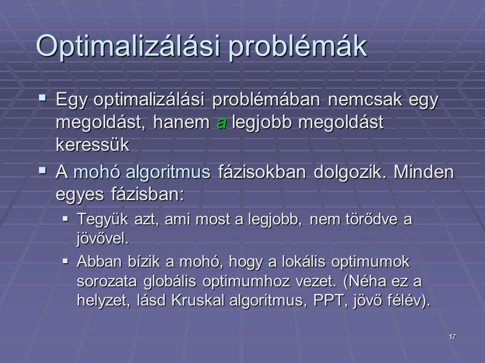 17 Optimalizálási problémák  Egy optimalizálási problémában nemcsak egy megoldást, hanem a legjobb megoldást keressük  A mohó algoritmus fázisokban dolgozik.