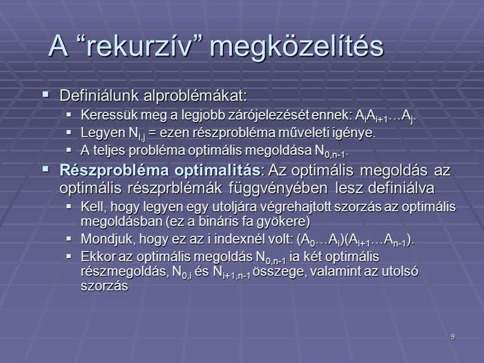 9 A rekurzív megközelítés  Definiálunk alproblémákat:  Keressük meg a legjobb zárójelezését ennek: A i A i+1 …A j.
