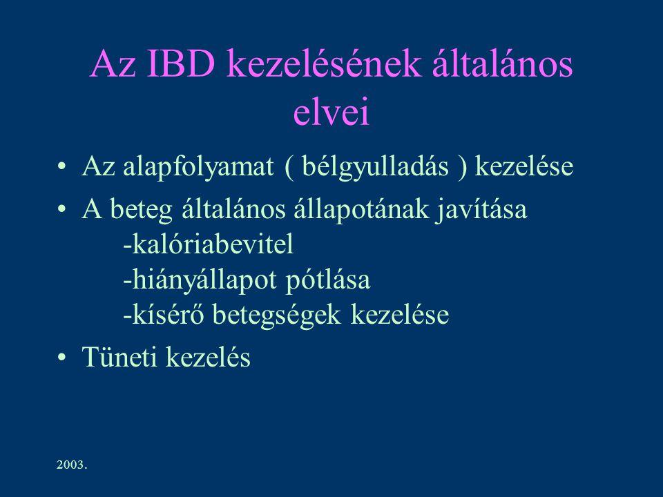2003. Az IBD kezelésének általános elvei Az alapfolyamat ( bélgyulladás ) kezelése A beteg általános állapotának javítása -kalóriabevitel -hiányállapo