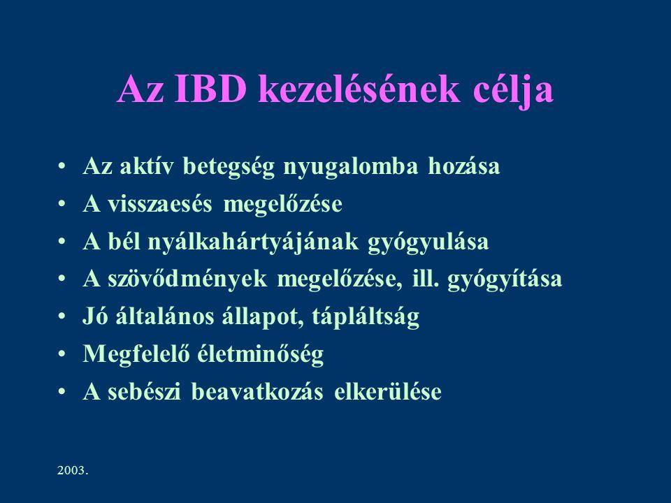 2003. Az IBD kezelésének célja Az aktív betegség nyugalomba hozása A visszaesés megelőzése A bél nyálkahártyájának gyógyulása A szövődmények megelőzés
