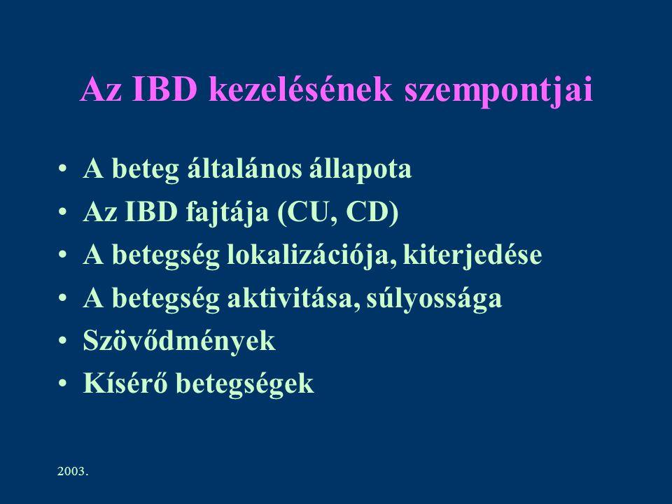 2003. Az IBD kezelésének szempontjai A beteg általános állapota Az IBD fajtája (CU, CD) A betegség lokalizációja, kiterjedése A betegség aktivitása, s