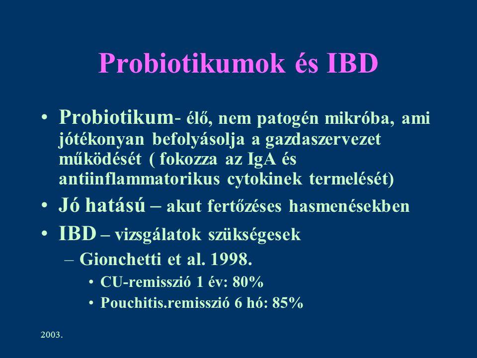 2003. Probiotikumok és IBD Probiotikum- élő, nem patogén mikróba, ami jótékonyan befolyásolja a gazdaszervezet működését ( fokozza az IgA és antiinfla