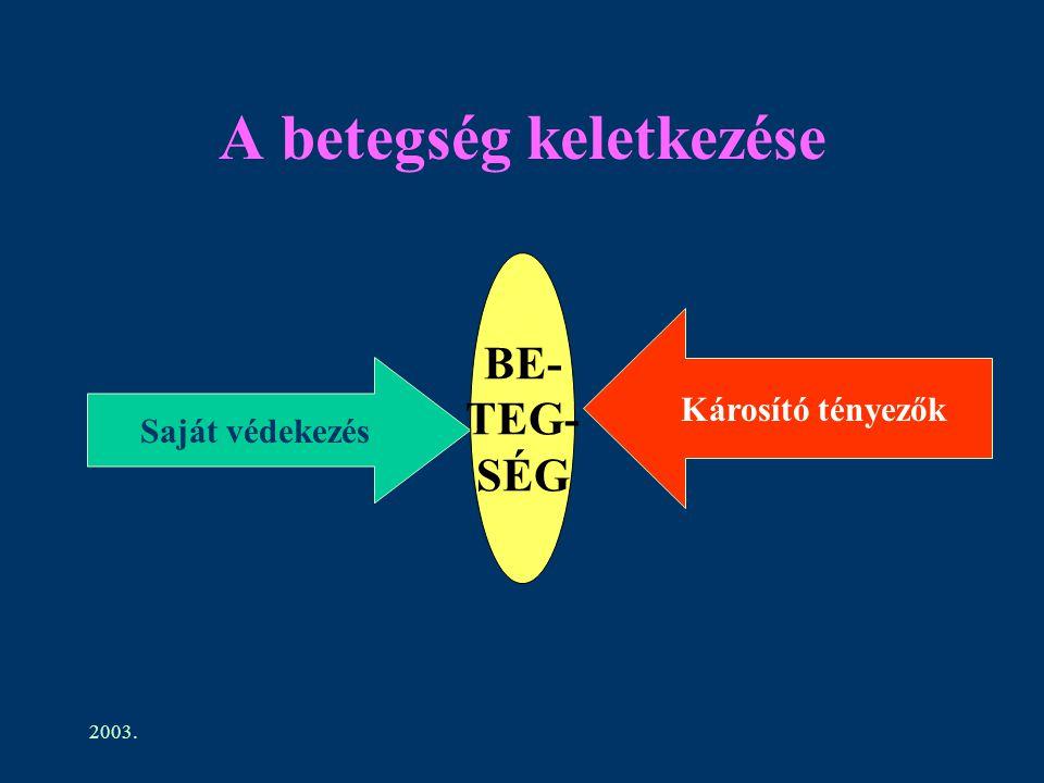 2003. A betegség keletkezése Saját védekezés Károsító tényezők BE- TEG- SÉG