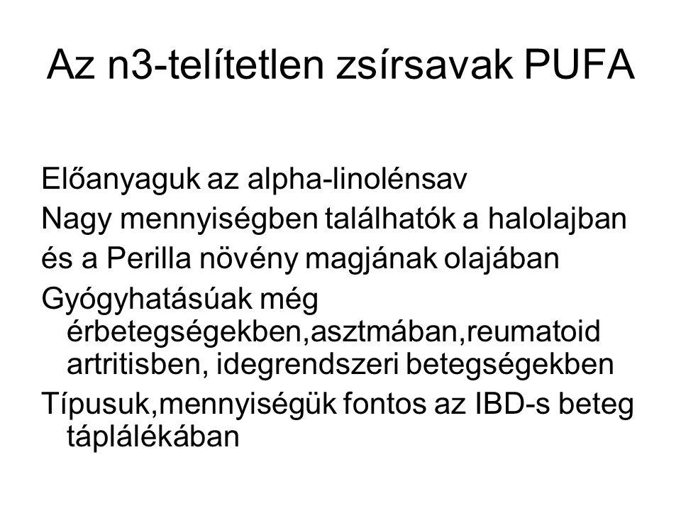 Az n3-telítetlen zsírsavak PUFA Előanyaguk az alpha-linolénsav Nagy mennyiségben találhatók a halolajban és a Perilla növény magjának olajában Gyógyha