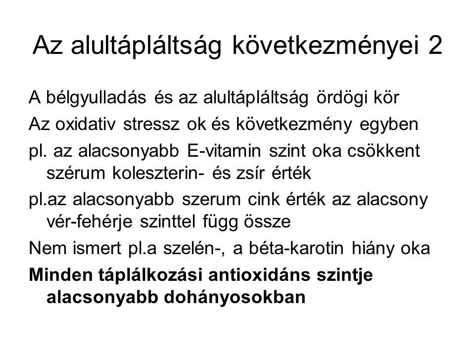 Az alultápláltság következményei 2 A bélgyulladás és az alultápláltság ördögi kör Az oxidativ stressz ok és következmény egyben pl. az alacsonyabb E-v