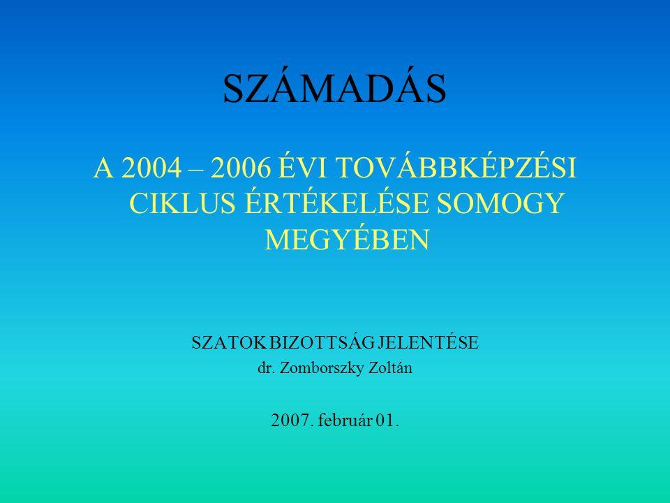 SZÁMADÁS A 2004 – 2006 ÉVI TOVÁBBKÉPZÉSI CIKLUS ÉRTÉKELÉSE SOMOGY MEGYÉBEN SZATOK BIZOTTSÁG JELENTÉSE dr.