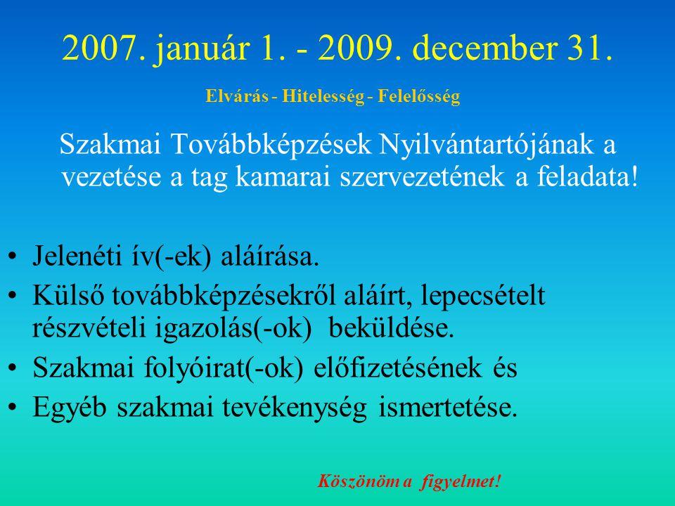 2007.január 1. - 2009. december 31.