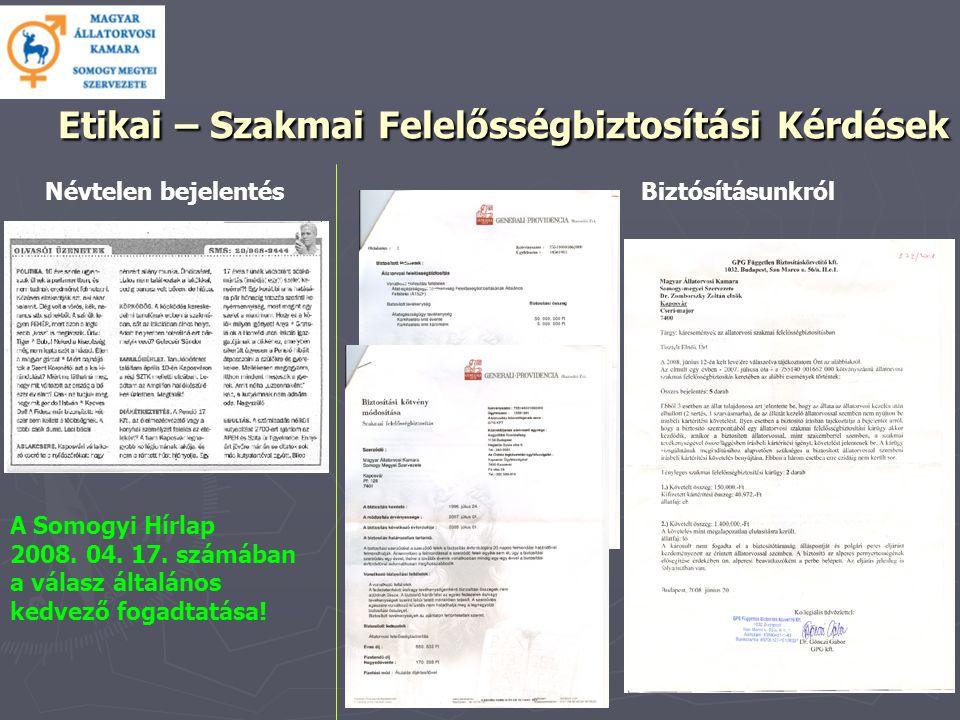 Etikai – Szakmai Felelősségbiztosítási Kérdések Etikai – Szakmai Felelősségbiztosítási Kérdések A Somogyi Hírlap 2008.
