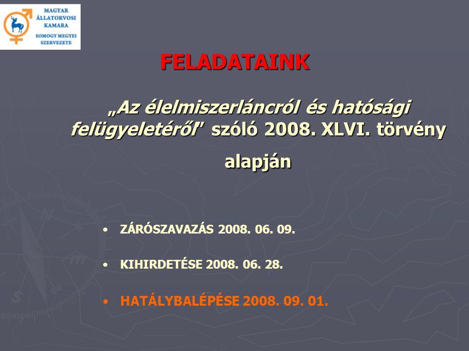 """FELADATAINK """"Az élelmiszerláncról és hatósági felügyeletéről szóló 2008."""