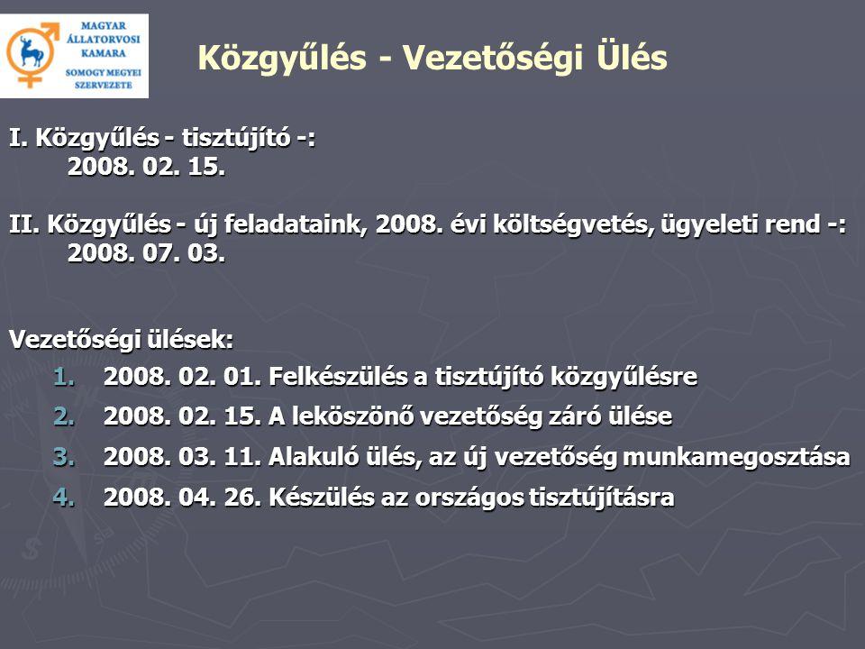 I. Közgyűlés - tisztújító -: 2008. 02. 15. II.
