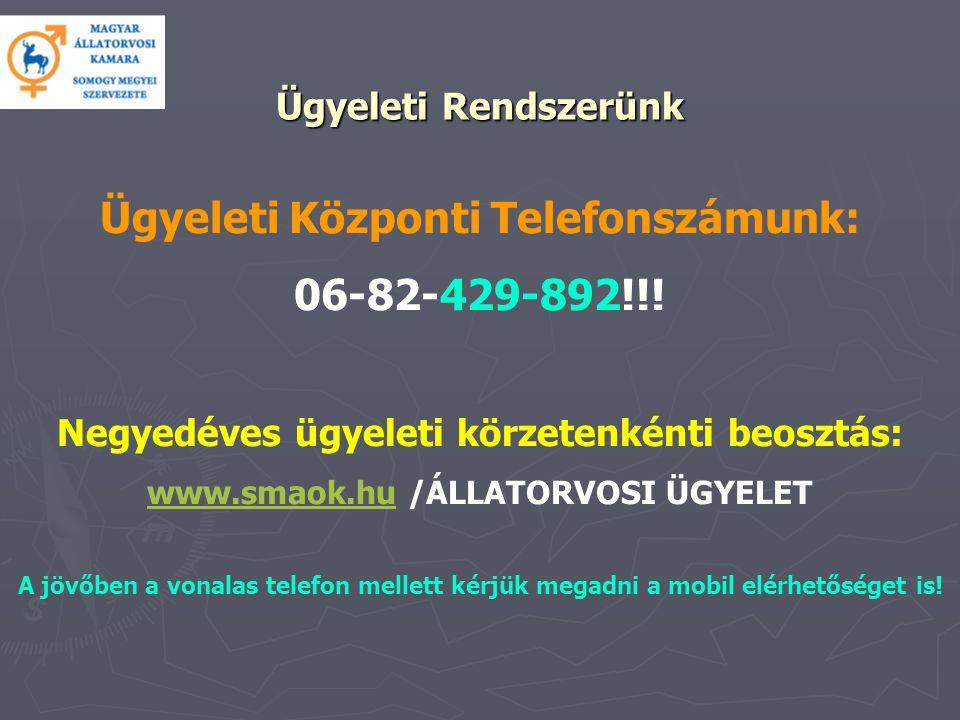 Ügyeleti Rendszerünk Ügyeleti Központi Telefonszámunk: 06-82-429-892!!.