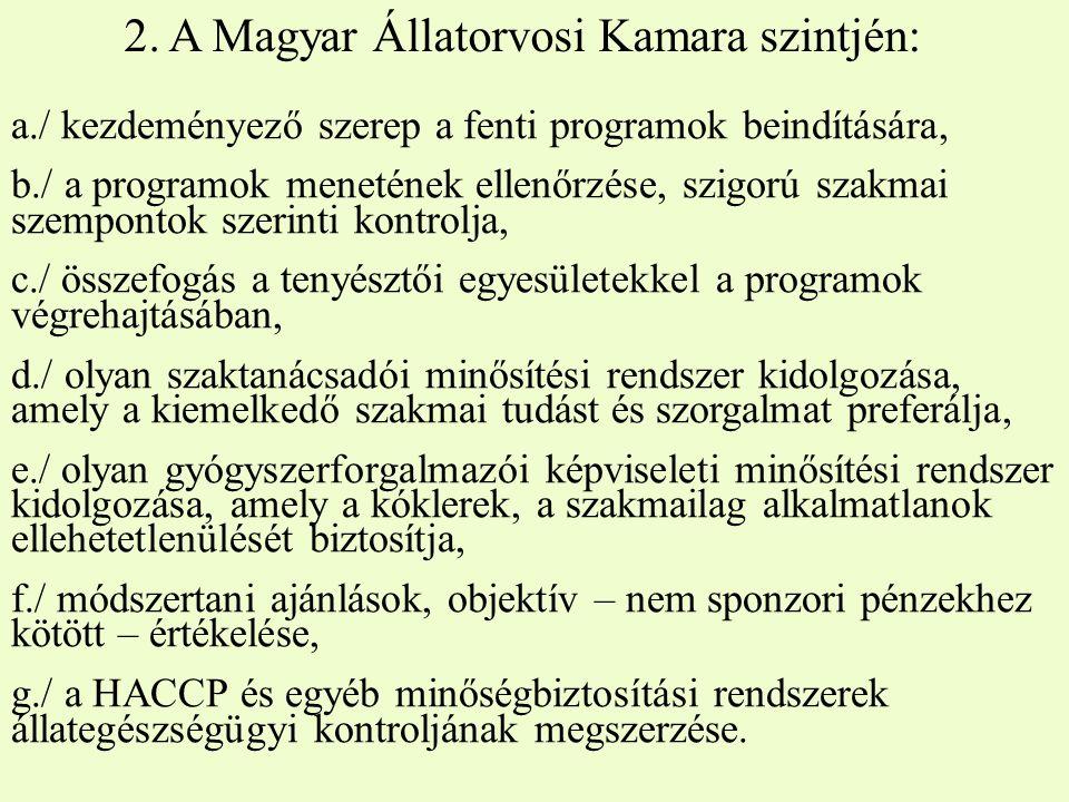 2. A Magyar Állatorvosi Kamara szintjén: a./ kezdeményező szerep a fenti programok beindítására, b./ a programok menetének ellenőrzése, szigorú szakma
