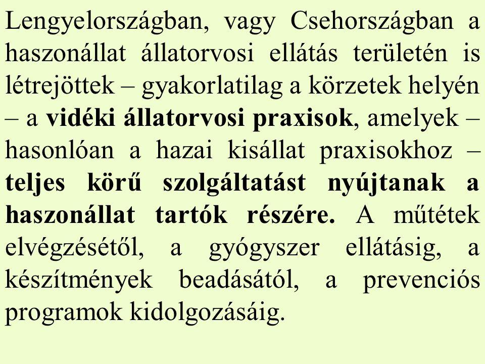 Lengyelországban, vagy Csehországban a haszonállat állatorvosi ellátás területén is létrejöttek – gyakorlatilag a körzetek helyén – a vidéki állatorvosi praxisok, amelyek – hasonlóan a hazai kisállat praxisokhoz – teljes körű szolgáltatást nyújtanak a haszonállat tartók részére.
