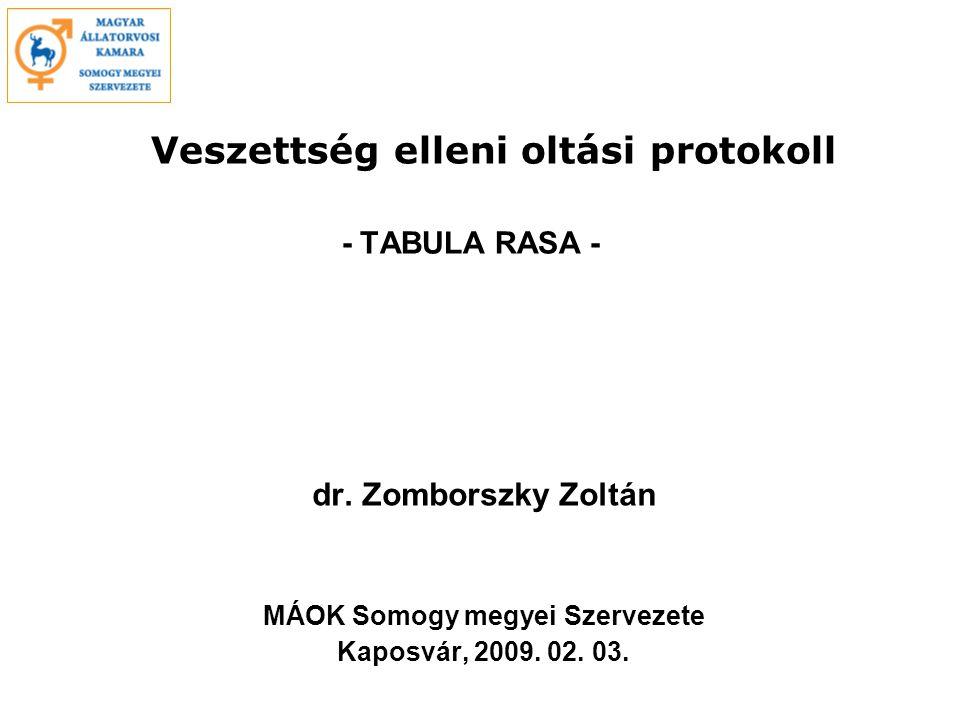 Veszettség elleni oltási protokoll - TABULA RASA - dr.