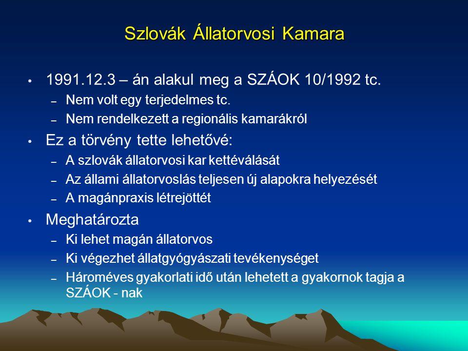 Szlovák Állatorvosi Kamara 1991.12.3 – án alakul meg a SZÁOK 10/1992 tc. – Nem volt egy terjedelmes tc. – Nem rendelkezett a regionális kamarákról Ez