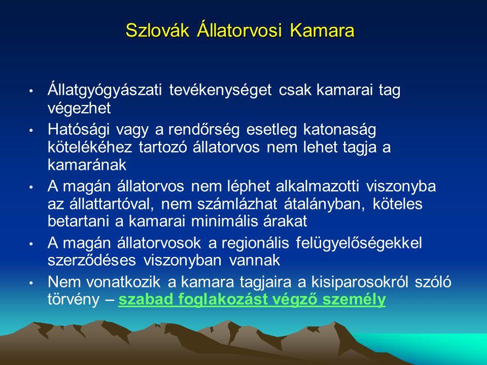 Szlovák Állatorvosi Kamara Állatgyógyászati tevékenységet csak kamarai tag végezhet Hatósági vagy a rendőrség esetleg katonaság kötelékéhez tartozó ál
