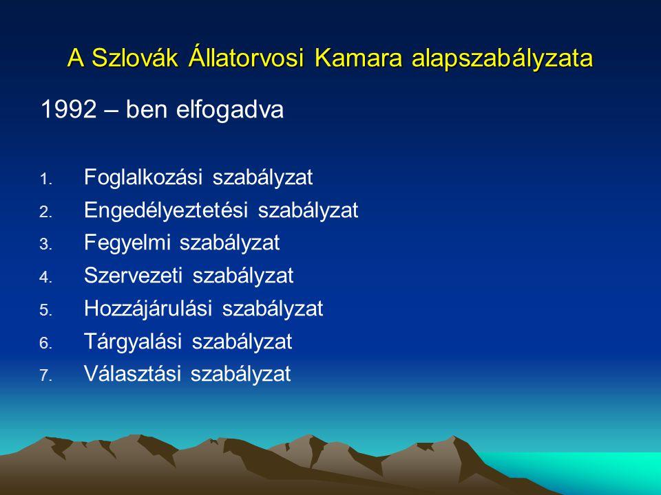 A Szlovák Állatorvosi Kamara alapszabályzata 1992 – ben elfogadva 1. Foglalkozási szabályzat 2. Engedélyeztetési szabályzat 3. Fegyelmi szabályzat 4.