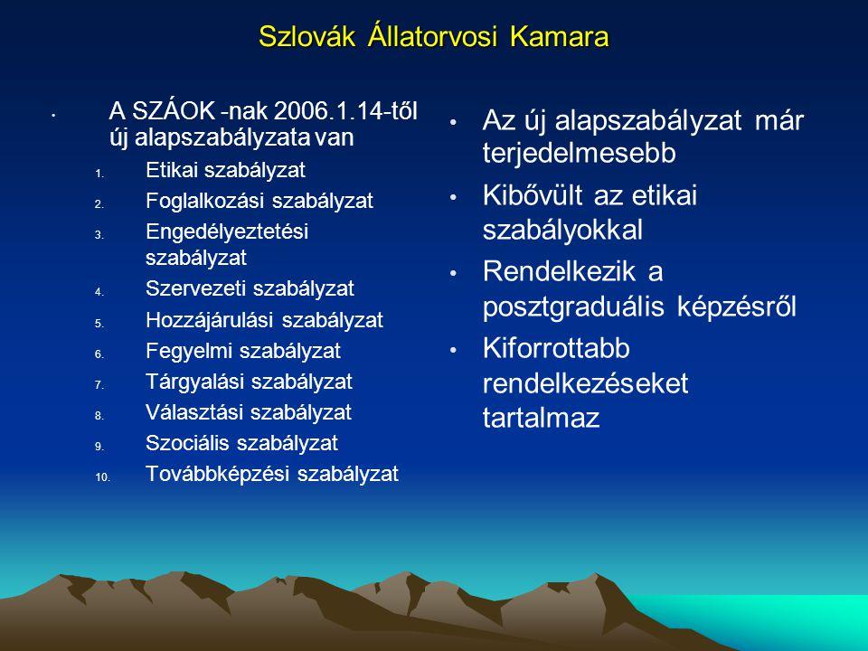 Szlovák Állatorvosi Kamara A SZÁOK -nak 2006.1.14-től új alapszabályzata van 1. Etikai szabályzat 2. Foglalkozási szabályzat 3. Engedélyeztetési szabá