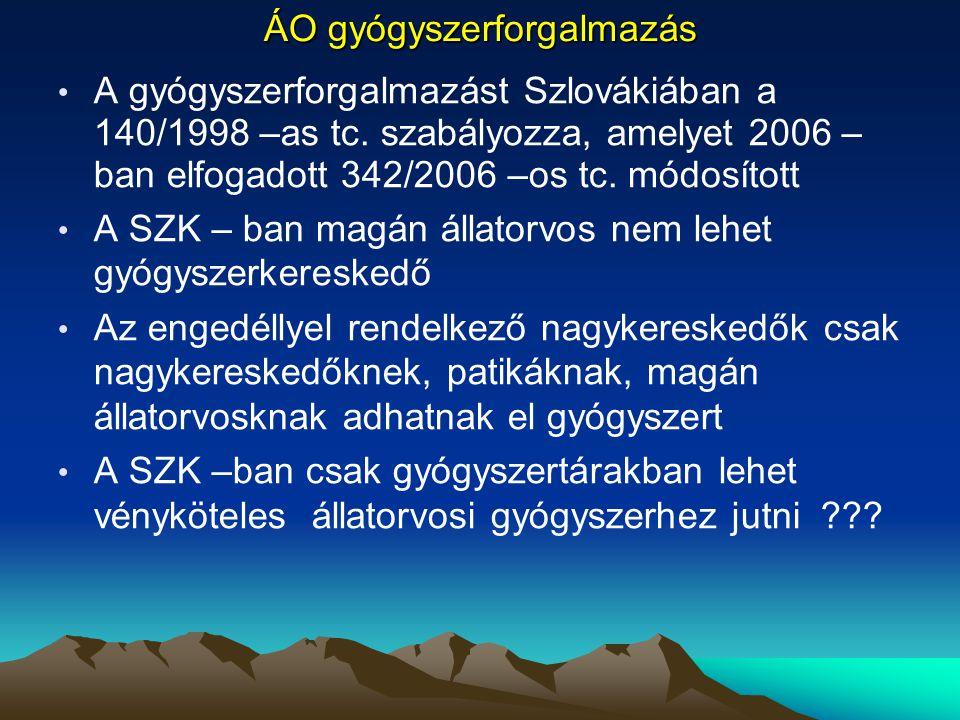 ÁO gyógyszerforgalmazás A gyógyszerforgalmazást Szlovákiában a 140/1998 –as tc. szabályozza, amelyet 2006 – ban elfogadott 342/2006 –os tc. módosított